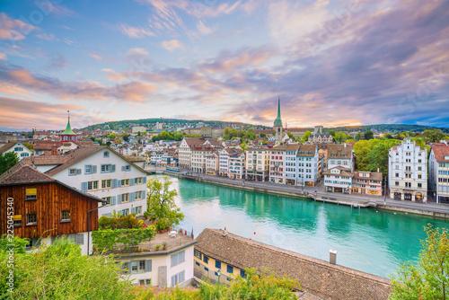 Valokuvatapetti Beautiful view of historic city center of Zurich at sunset