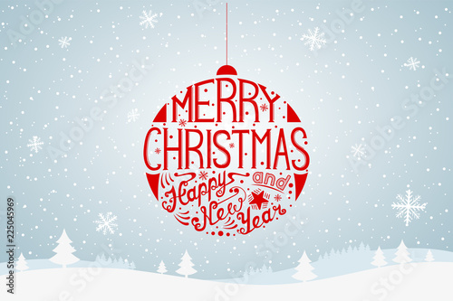 Photographie  Merry Christmas lettering.