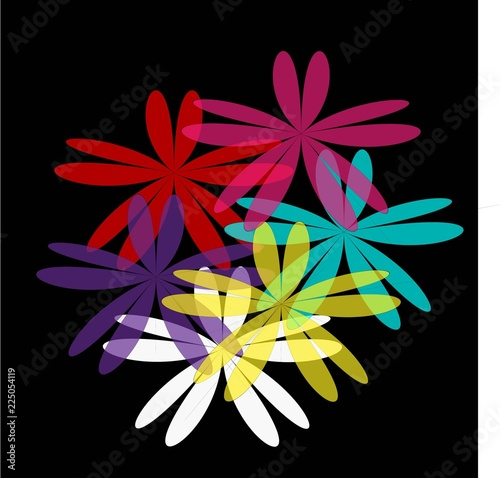Fotografie, Obraz  bright multicolored flowers on a black background