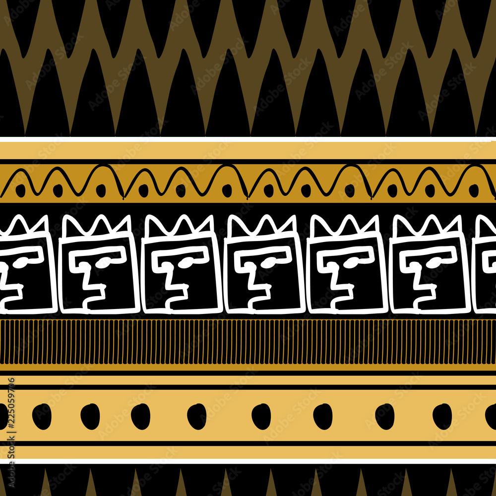 Photo African pattern vector with hand drawn tribal ethnic drawing