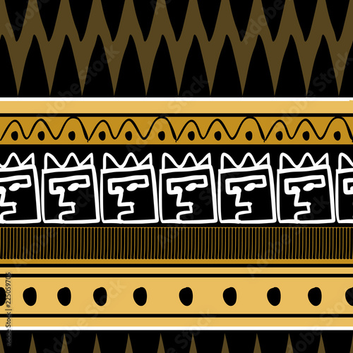 African pattern vector with hand drawn tribal ethnic drawing Wallpaper Mural