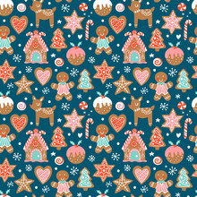 Christmas Seamless Pattern Background With Gingerbread House And Cookies