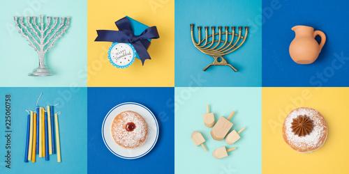 Jewish holiday Hanukkah banner design with menorah, gift box, dreidel and sufganiyot