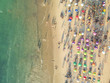 Aerial view of a crowded tropical beach