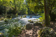 Munich, Germany, On August 22, 2018. Park With Stream And Artificial Wave