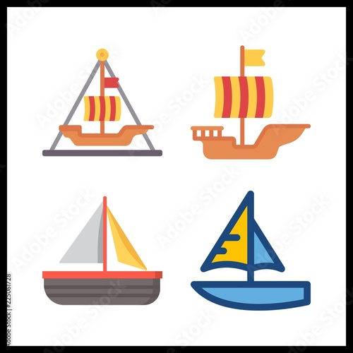 4 sail icon  Vector illustration sail set  sail boat and