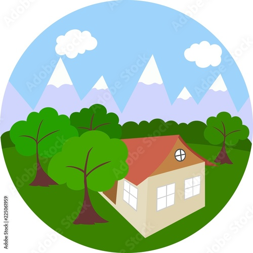 Deurstickers Groene Color illustration of a house, trees and mountains.