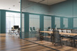 Green and glass wall meeting room corner