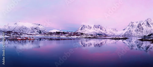 Keuken foto achterwand Purper Landscape with beautiful winter lake and snowy mountains at sunset at Lofoten Islands in Northern Norway. Panoramic view