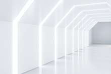 Futuristic Empty White Corridor, Side View