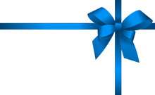 Invitation, Greeting Or Gift Card With Blue Ribbon And A Bow  On White Background.  Gift Voucher Template With  Place For Text.