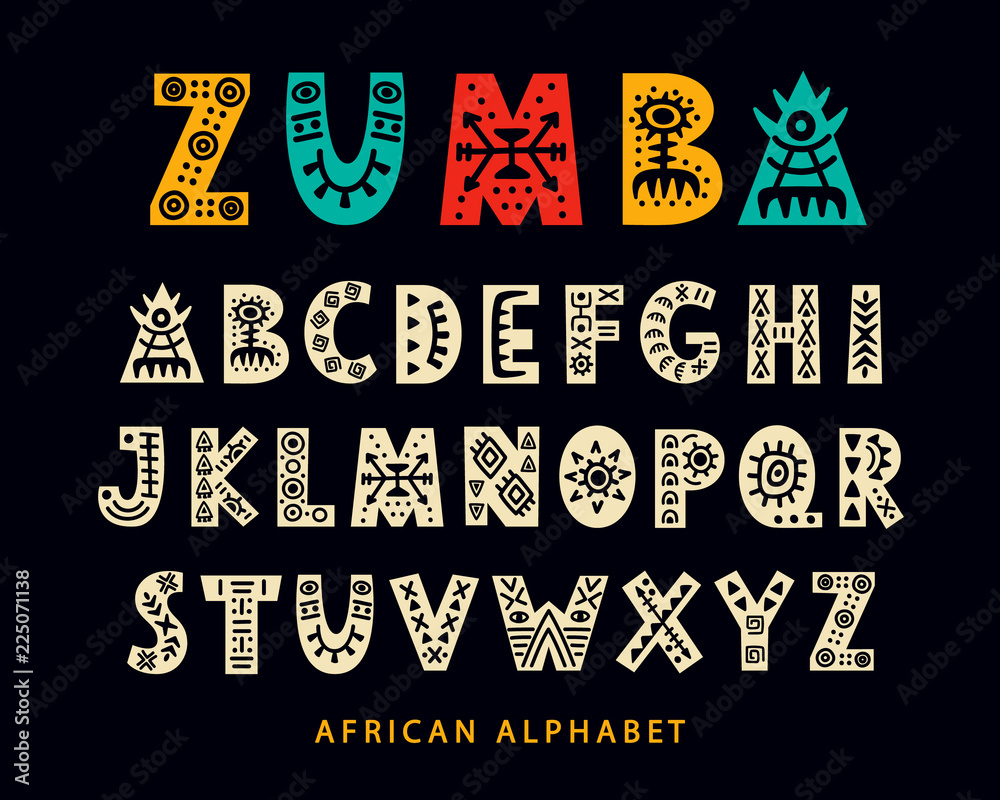 Fototapeta Vector Hand drawn African Tribal Font. Folk Scandinavian Script