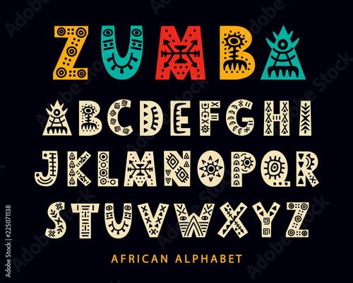 Vector Hand drawn African Tribal Font. Folk Scandinavian Script Fototapete