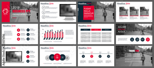 Obraz Business presentation slides templates from infographic elements. Can be used for presentation, flyer and leaflet, brochure, corporate report, marketing, advertising, annual report, banner, booklet. - fototapety do salonu