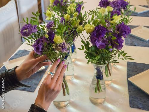 Foto op Plexiglas Bloemen Floristry in the design of the restaurant.
