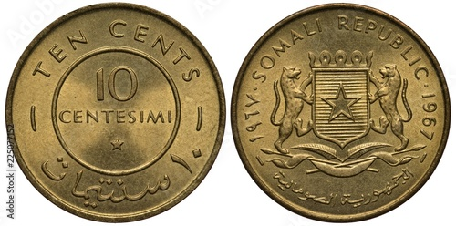 Fotografia  Somali Somalian coin 10 ten centesimi (cents) 1967, values in English and Arabic