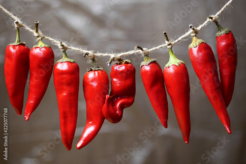 closeup of red chili peppers hanging on a rope