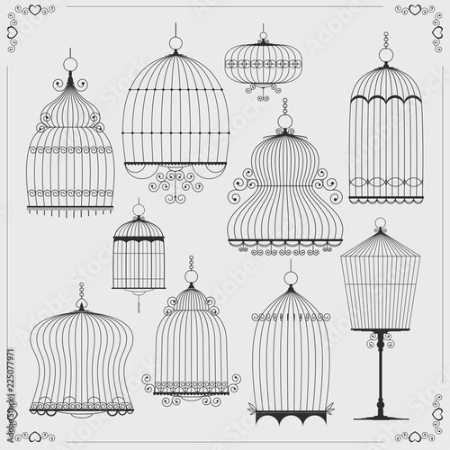 Photo  Set of silhouettes of birdcages