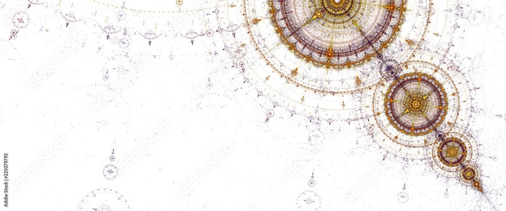 Fototapety, obrazy: Abstract fractal circles compass on the white background