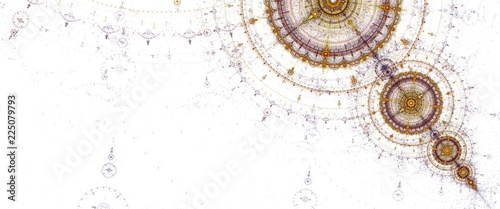 Obraz Abstract fractal circles compass on the white background - fototapety do salonu