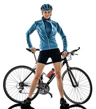 One Caucasian Cyclist Woman Cycling Riding Bicycle Standing Smiling Isolated On White Background