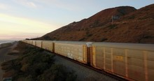 California Freight Train On Co...