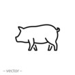 pig icon, piggy silhouette linear sign isolated on white background - editable vector illustration eps10