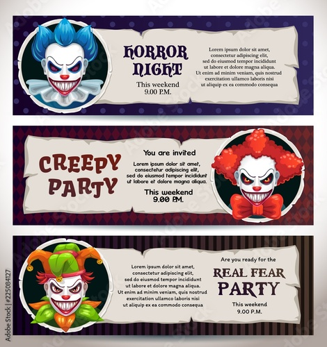 Halloween celebration event banners with scary clown faces. Canvas Print