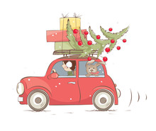 Christmas Car / Girl And Dog Are Carrying Gifts And A Christmas Tree, Funny Vector Illustration