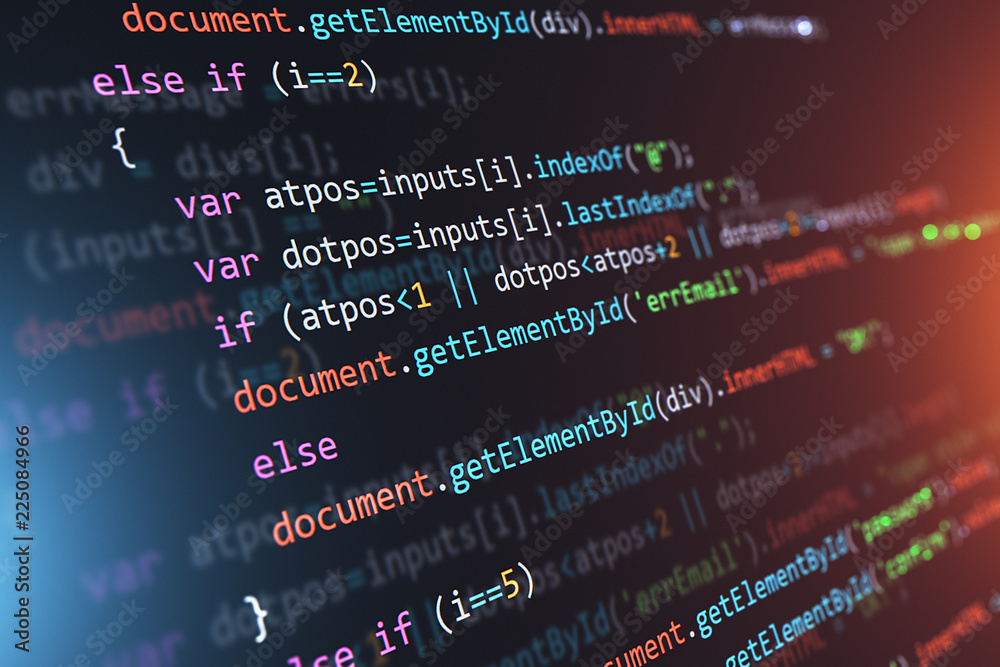 Fototapeta Programming source code abstract background