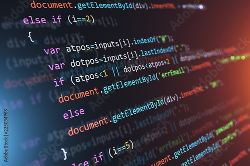 Fototapeta Programming source code abstract background obraz