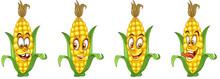 Corn Cob. Vegetable Food. Emoji Emoticon Collection.