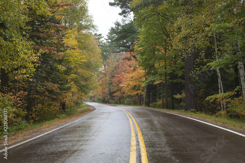 Curving road in northern Minnesota with trees in autumn color on a rainy day