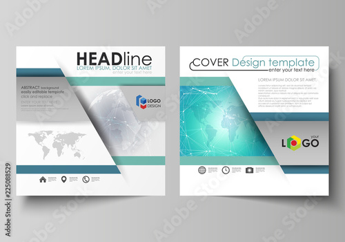 Fotografía  The minimalistic vector illustration of editable layout of two square format covers design templates for brochure, flyer, magazine