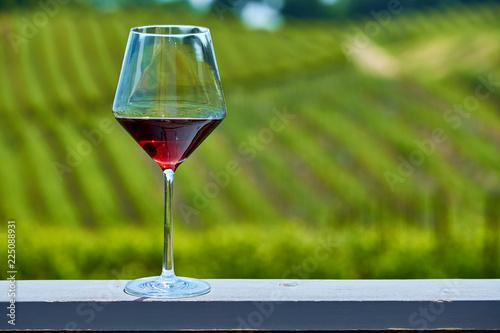 Keuken foto achterwand Verenigde Staten Glass of red wine and vineyards