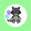 Cute little Racoon with multicolored balloons. vector illustration