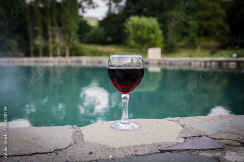 Foto op Plexiglas Alcohol Drink in tall glass in poolside. Refreshment on summer day. Purple juice cocktail or vine. Mountain forest background.