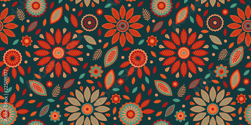 Powerful colorful repeat pattern with leaves, dots and flower elements Canvas Print