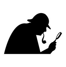 Sherlock Holmes Black Silhouette, Isolated On White Background