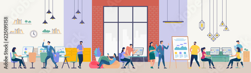 People Work in Office. Vector Illustration. Canvas Print