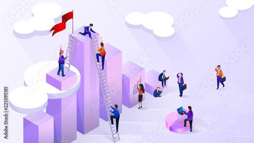 Fotografía  Reaching High Financial Indicators Vector Concept