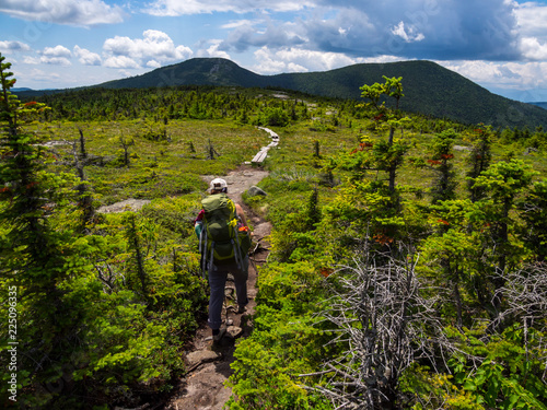 Hiker on Appalachian Trail in Maine, Lush Mountain Vista Fototapet