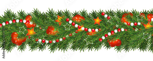 Christmas And Happy New Year Garland And Border Of Christmas Tree