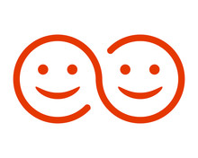 Two Smiling Faces Icon - Stock Vector