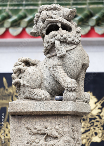 Photo  Chinese lion at the entrance of a temple