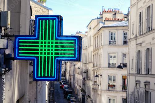 Poster Pharmacie Medical cross of pharmacy in Paris Montmartre
