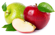 Fresh Red And Green Apples On White Background
