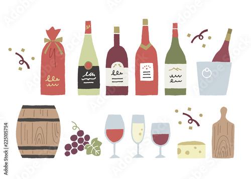 Stampa su Tela ワイン手描き色々
