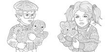 Coloring Pages With Boy And Girl Holding Baby Animals