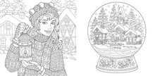 Coloring Pages With Winter Girl And Magic Snow Ball